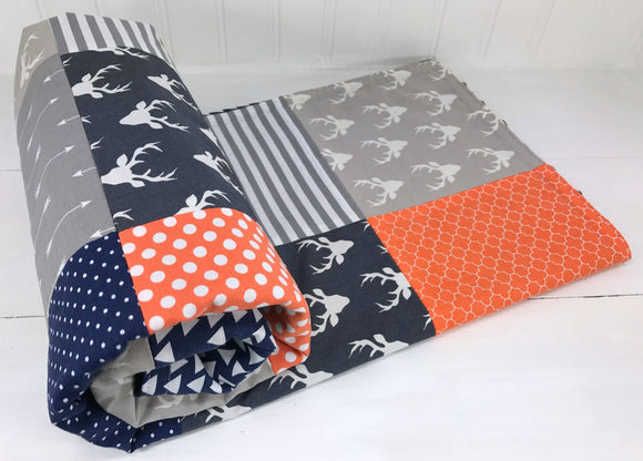 Orange, Gray and Navy Woodland Deer Baby Blanket - CLEARANCE