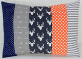 Orange, Navy and Gray Deer Pillow Cover