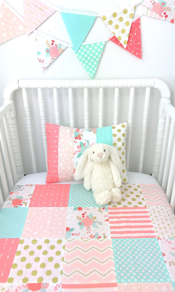 Coral Pink, Blush, Mint and Gold Floral Baby Blanket
