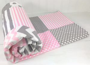 Baby Pink and Gray Baby Blanket - CLEARANCE