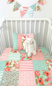 Blush and Mint Floral Baby Blanket