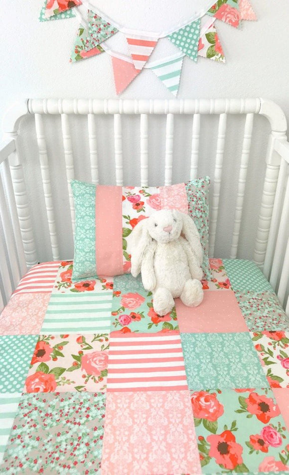 Blush and Mint Floral Baby Blanket - CLEARANCE