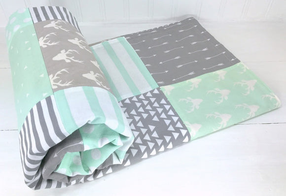 Mint and Gray Woodland Deer Baby Blanket - CLEARANCE