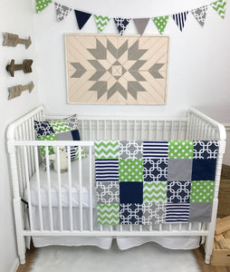 Green, Gray and Navy Baby Blanket - CLEARANCE
