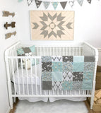 Mint and Gray Woodland Fawn Baby Blanket