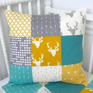 Teal, Mustard and Gray Deer Pillow Cover