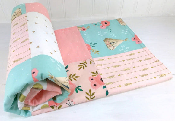 Teepee and Floral Baby Blanket - CLEARANCE