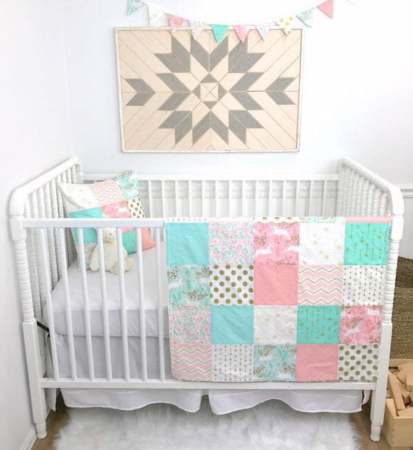 Blush and Mint Unicorn Baby Blanket - 30