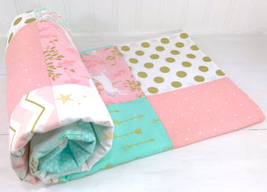 "Blush and Mint Unicorn Baby Blanket - 36"" x 42"" CLEARANCE"
