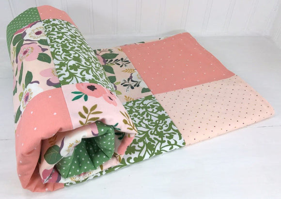 Blush Pink and Green Floral Baby Blanket - CLEARANCE