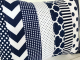 Navy Blue and White Pillow Cover