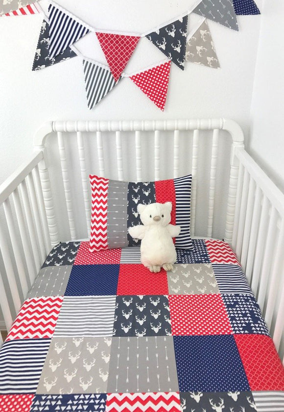 Navy, Red and Gray Deer Baby Blanket