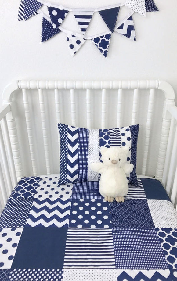 Navy and White Baby Blanket