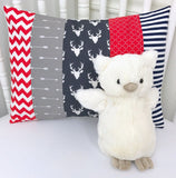 Red, Gray and Navy Deer Pillow Cover