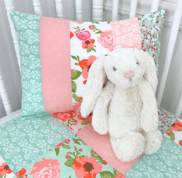 Blush and Mint Shabby Chic Pillow Cover