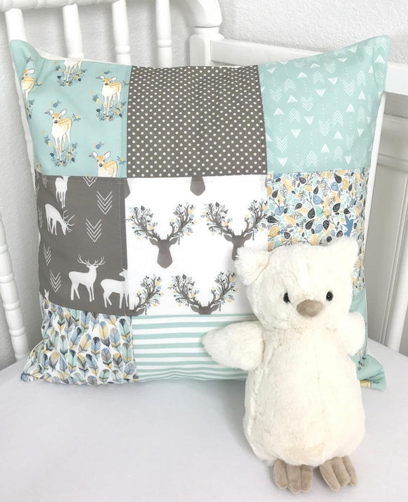 Mint and Gray Fawn Pillow Cover