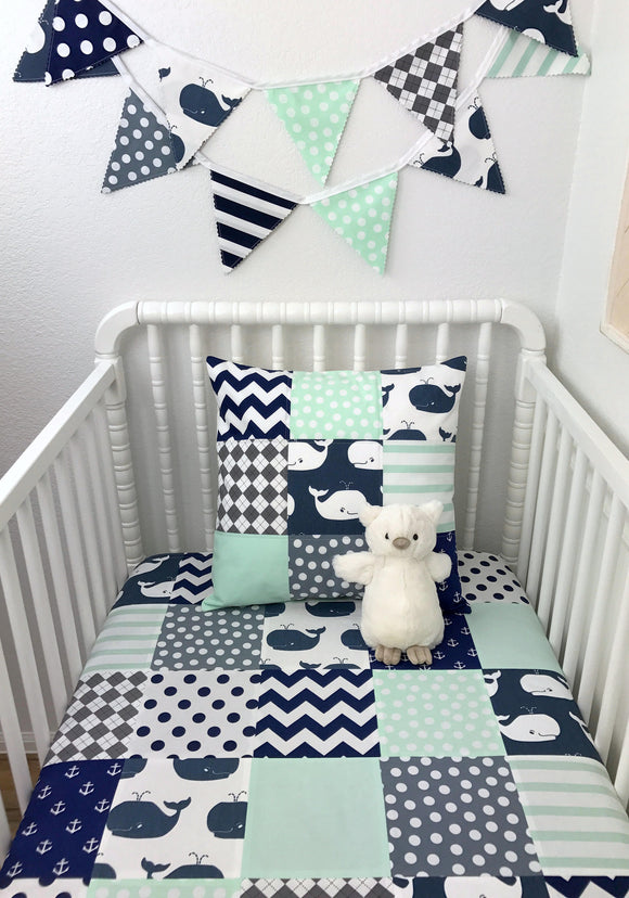 Navy, Gray and Mint Whale Baby Blanket