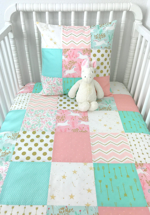 Blush and Mint Unicorn Baby Blanket