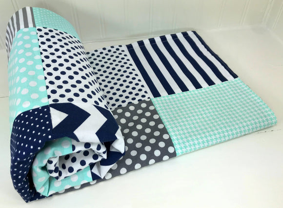 Navy Blue, Mint and Gray Baby Blanket