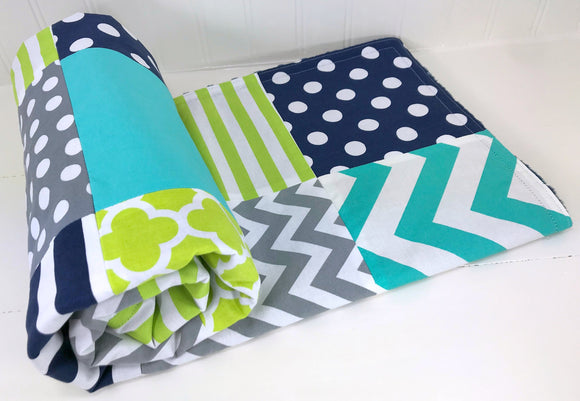 Navy, Turquoise, Lime Green and Gray Baby Blanket - CLEARANCE