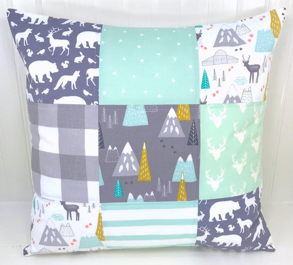 Mint and Gray Woodland Pillow Cover