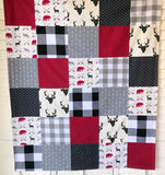 Woodland Deer and Buffalo Plaid Baby Blanket