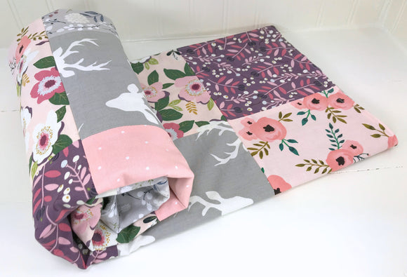 Blush, Purple and Gray Floral Deer Baby Blanket - CLEARANCE
