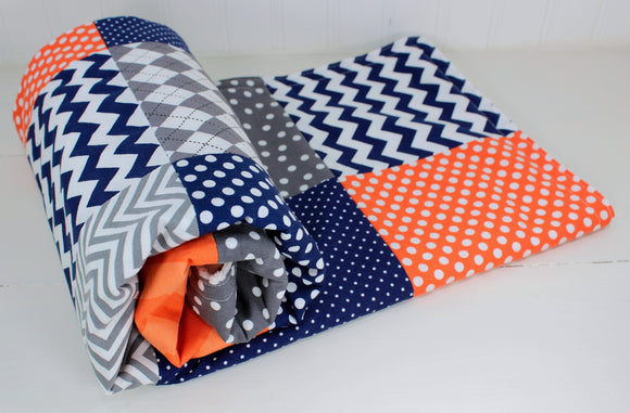 Orange, Gray, Navy Baby Boy Blanket
