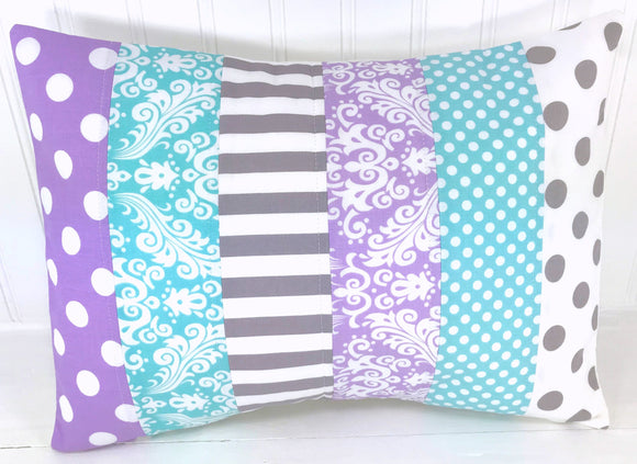 Aqua Blue, Lavender and Gray Damask Pillow Cover