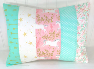 Blush and Mint Unicorn Pillow Cover