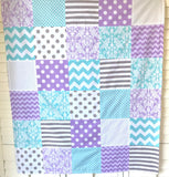 Lavender, Aqua and Gray Damask Baby Blanket