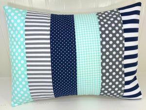Mint, Navy and Gray Pillow Cover