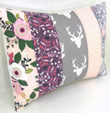 Blush, Purple and Gray Floral Deer Pillow Cover