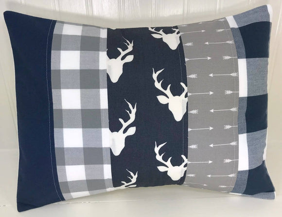 Navy and Gray Deer and Buffalo Plaid Pillow Cover