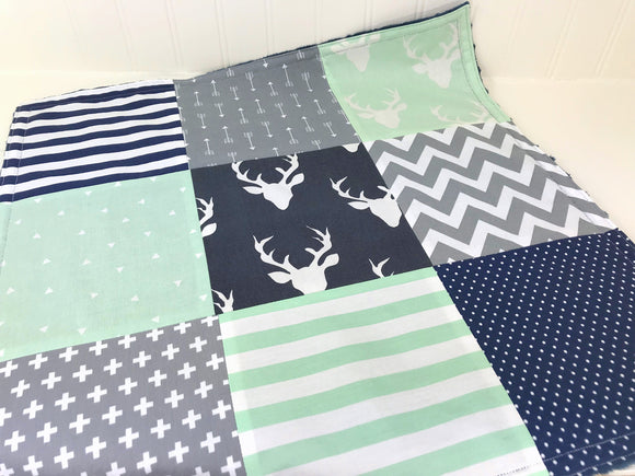 Navy, Mint and Gray Woodland Deer Security Blanket