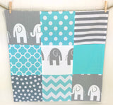 Aqua and Gray Elephant Security Blanket - CLEARANCE