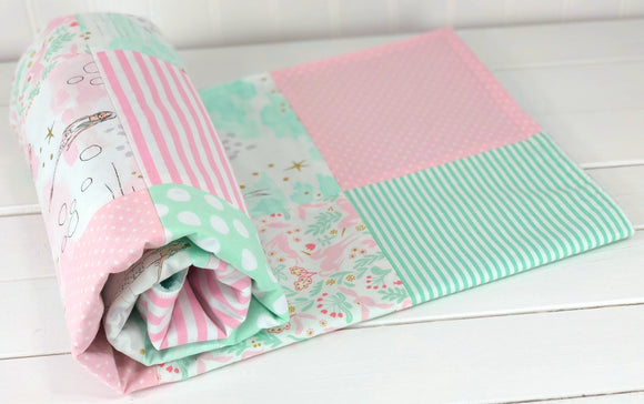 Pink and Mint Mermaid Baby Blanket - CLEARANCE