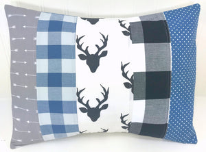 Blue, Gray and Black Deer and Buffalo Plaid Pillow Cover