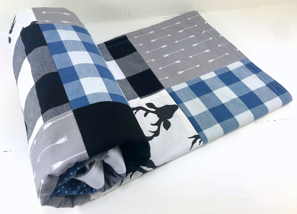 Blue, Black and Gray Deer and Buffalo Plaid Baby Blanket