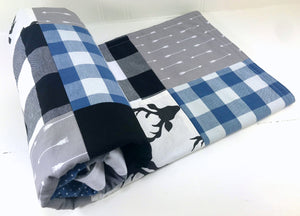 Blue, Black and Gray Deer and Buffalo Plaid Baby Blanket - CLEARANCE