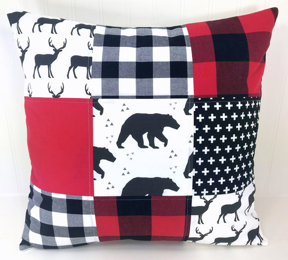 Red and Black Deer and Bear Pillow Cover