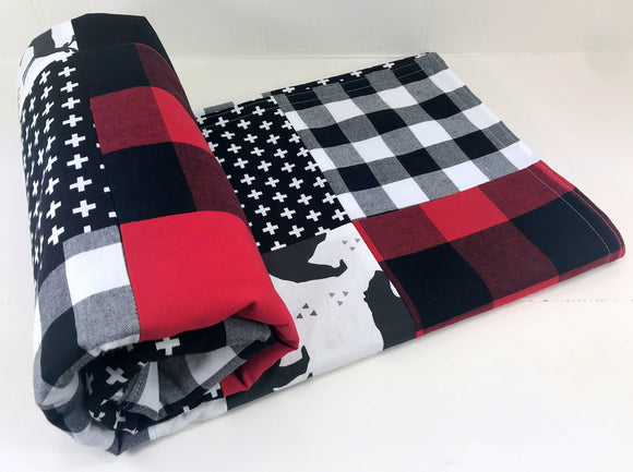 Deer and Bear Buffalo Plaid Baby Blanket - CLEARANCE