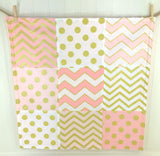 Coral Pink, Blush and Gold Security Blanket - CLEARANCE