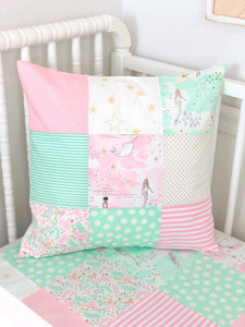 Baby Pink and Mint Mermaid Pillow Cover