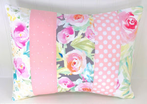 Blush Pink and Gray Floral Patchwork Pillow Cover