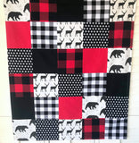 Deer and Bear Buffalo Plaid Baby Blanket