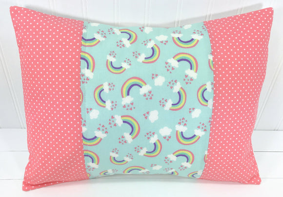 Coral Pink with Rainbows Pillow Cover