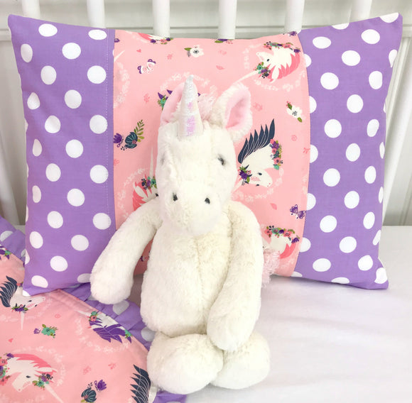 Blush Pink and Lavender Unicorn Pillow Cover