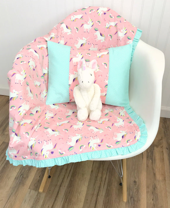 Blush Pink Unicorn Ruffle Baby Blanket - CLEARANCE