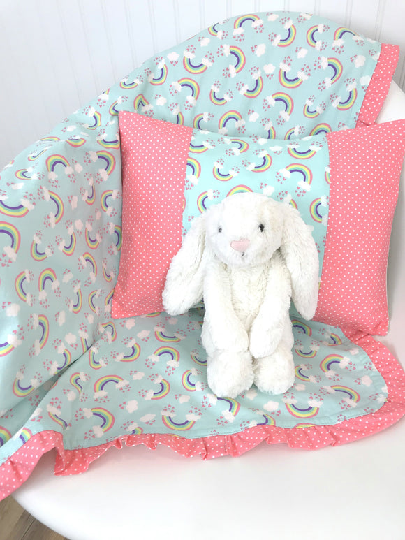 Coral And Mint Rainbow Ruffle Baby Blanket - CLEARANCE
